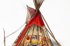 Schnittillustration Tipi der Ureinwohner Nordamerikas (Weldon Owen Publishing)